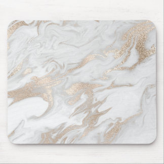 Ivory Pearly Titanium Gold White Gray Marble Mouse Mat
