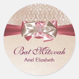 Ivory Pink Damask Bat Mitzvah Label