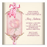 Ivory Pink Rose Womans Birthday Party Personalised Announcements