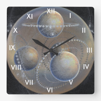 Ivory Planets Square Wall Clock
