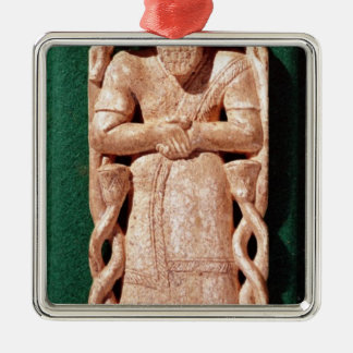 Ivory plaquette of a god christmas ornament