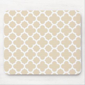 Ivory Quatrefoil Trellis Pattern Mouse Mat