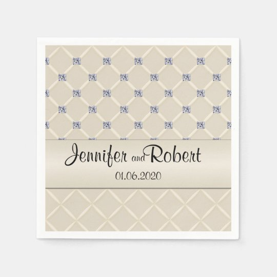 Ivory Quilted Bling Diamonds Posh Wedding Napkins Paper