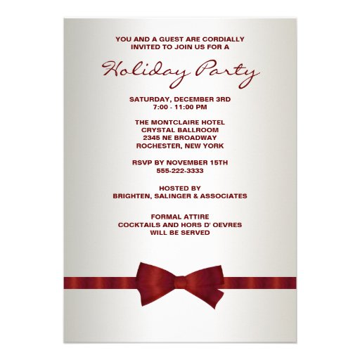 Ivory Red Bow Tie Corporate Christmas Party Invitations