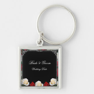 Ivory & Red Roses Bride & Groom Wedding Keychain 2