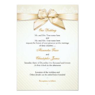Ivory Ribbon Gold Stripes Wedding Invitation S5