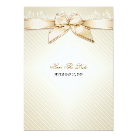 Ivory Ribbon Gold Stripes Wedding Save the Date