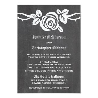 Ivory Rose Chalkboard Wedding Invite