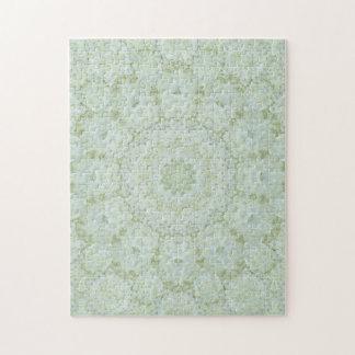 Ivory Rose Floral Mandala Kaleidoscope Jigsaw Puzzle