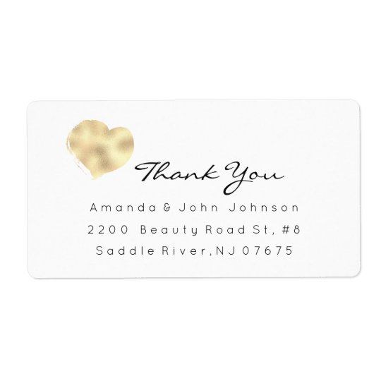 Ivory Rose Gold Heart Brush Stroke Thank You