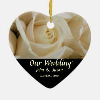 Ivory Rose Heart Wedding Ornament