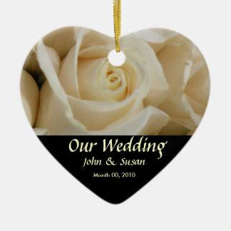 Ivory Rose Heart Wedding Ornament