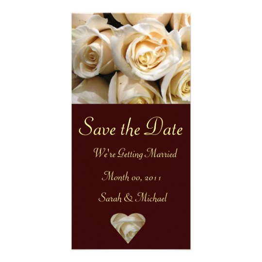 Ivory Rose Wedding Announcement Card Customized Photo Card