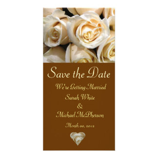 Ivory Rose Wedding Announcement Card Personalised Photo Card