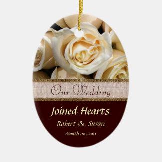 Ivory Rose Wedding Favor Keepsake Christmas Ornament