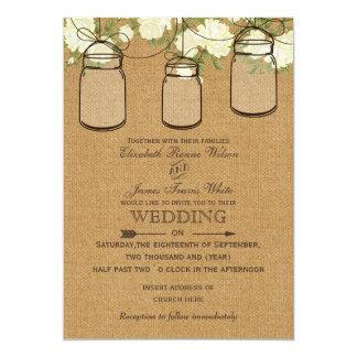 "ivory roses burlap  mason jar wedding invites 5"" x 7"" invitation card"