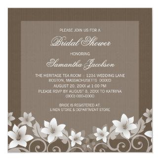 "Ivory Rustic Floral Bridal Shower Invite 5.25"" Square Invitation Card"