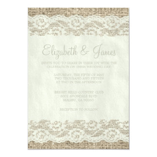 Ivory Rustic Lace Wedding Invitations