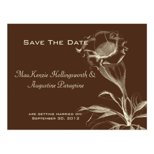Ivory Sketched Flower on Brown Save The Date