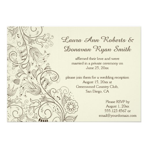 Ivory Sketched Swirls Flowers on Brown Wedding Custom Announcement