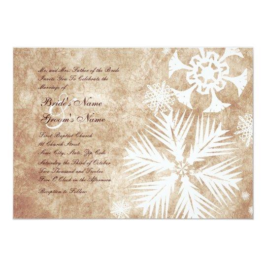 Ivory Snowflakes Vintage Wedding Invitations
