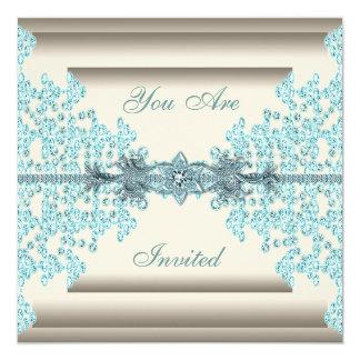 Ivory Teal Blue Diamond Black Tie Party Card