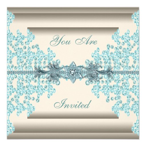 Ivory Teal Blue Diamond Black Tie Party Personalized Announcement
