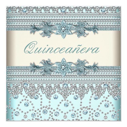 Ivory Teal Blue Quinceanera Card
