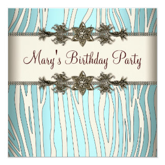 Ivory Teal Blue Zebra Womans Birthday Party 13 Cm X 13 Cm Square Invitation Card