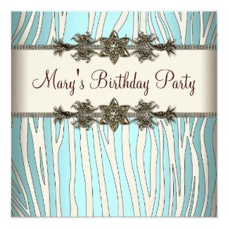 Ivory Teal Blue Zebra Womans Birthday Party 13 Cm X 13 Cm Square Invitation Card