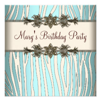 Ivory Teal Blue Zebra Womans Birthday Party Announcements