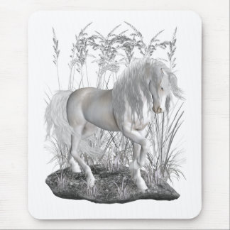 Ivory, the white stallion mouse pads
