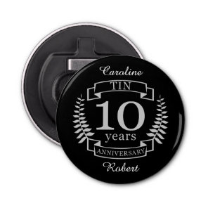 Ivory Traditional wedding anniversary 10 years Bottle Opener