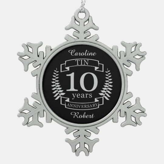 Ivory Traditional wedding anniversary 10 years Snowflake Pewter