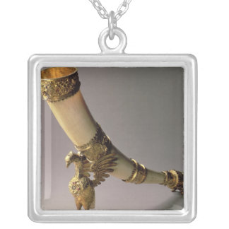 Ivory tusk drinking horn with silver-gilt mounts silver plated necklace