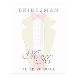 Ivory Tuxedo Pink Tie Bridesman Request Postcard