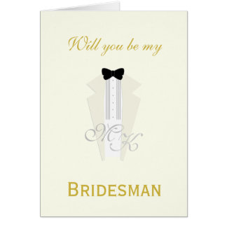 Ivory Tuxedo Wedding Bridesman Request Card