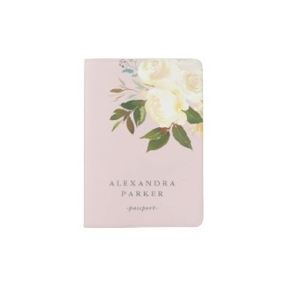 Ivory Watercolor Florals on Blush Passport Holder