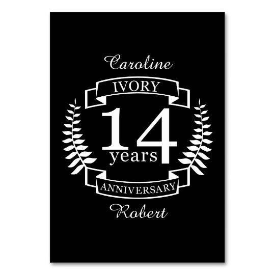 Ivory wedding anniversary 14 years card