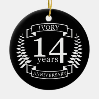 Ivory wedding anniversary 14 years round ceramic decoration