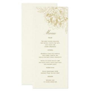Ivory Wedding Menu Card | Gold Floral Peony 10 Cm X 24 Cm Invitation Card