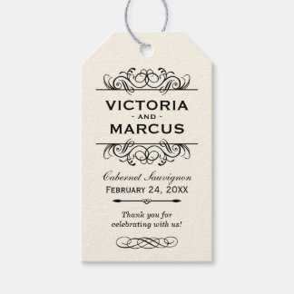 Ivory Wedding Wine Bottle Monogram Favor Tags