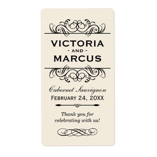 Ivory Wedding Wine Bottle Monogram Favour Labels