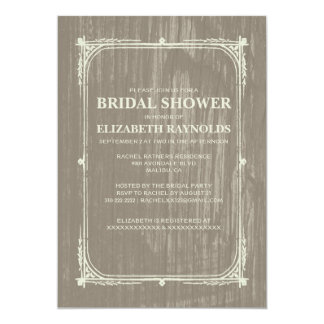 Ivory Western Barn Wood Bridal Shower Invitations Custom Invitation