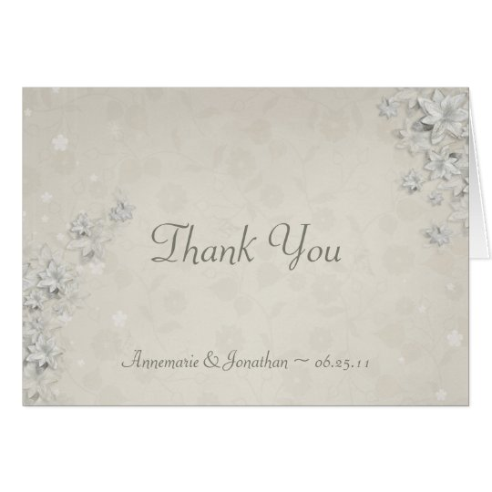 Ivory with White Flowers Thank You Card