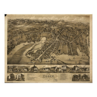 Ivoryton Connecticut 1881 Antique Panoramic Map Poster
