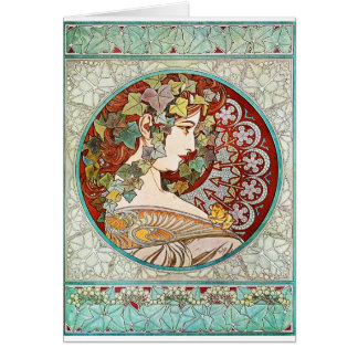 Ivy - Alphonse Mucha Card