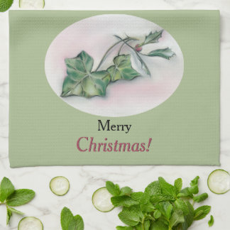 Ivy and Holly Christmas Tea Towel