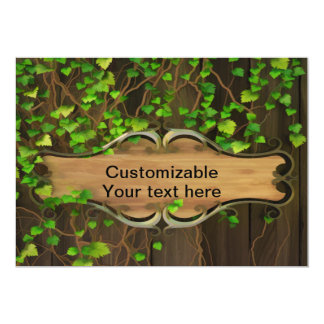 Ivy Covered Fence with Wooden Carved Sign Personalized Invites