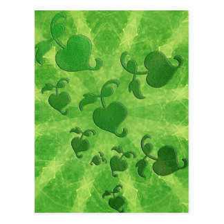 Ivy leaves and kaleidoscope in green postcard